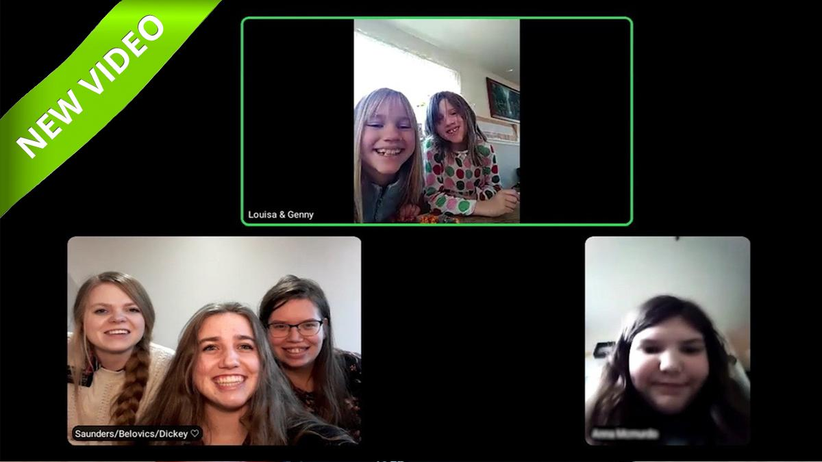 A video call with six girls.