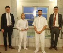 Elders Farnsworth, Høgset, Jackson, Bjerkøe, Brown and a man baptized