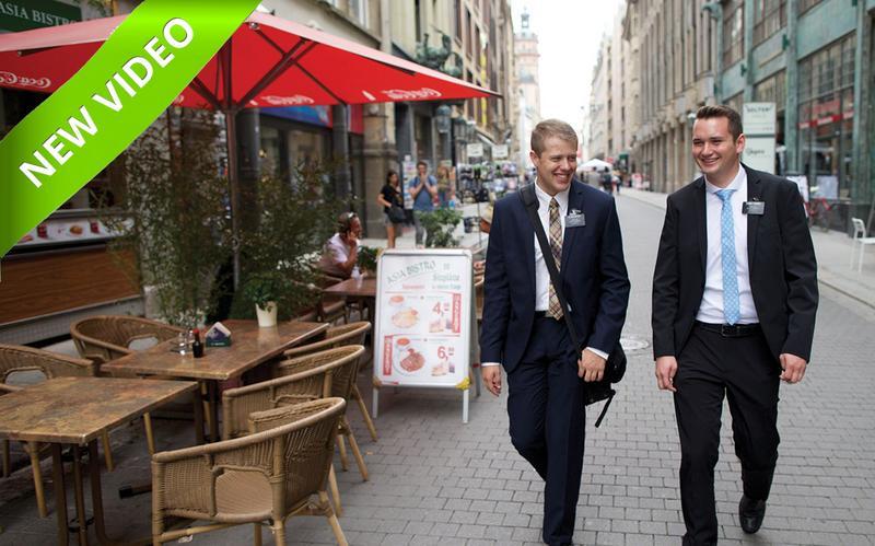 missionaries walking down the street