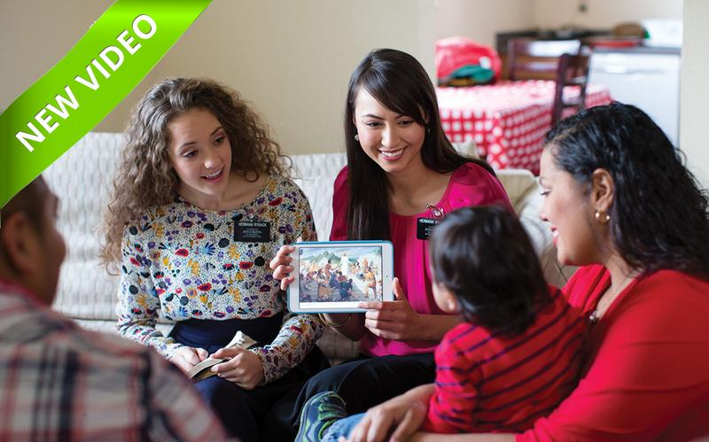 sister missionaries are teaching a family