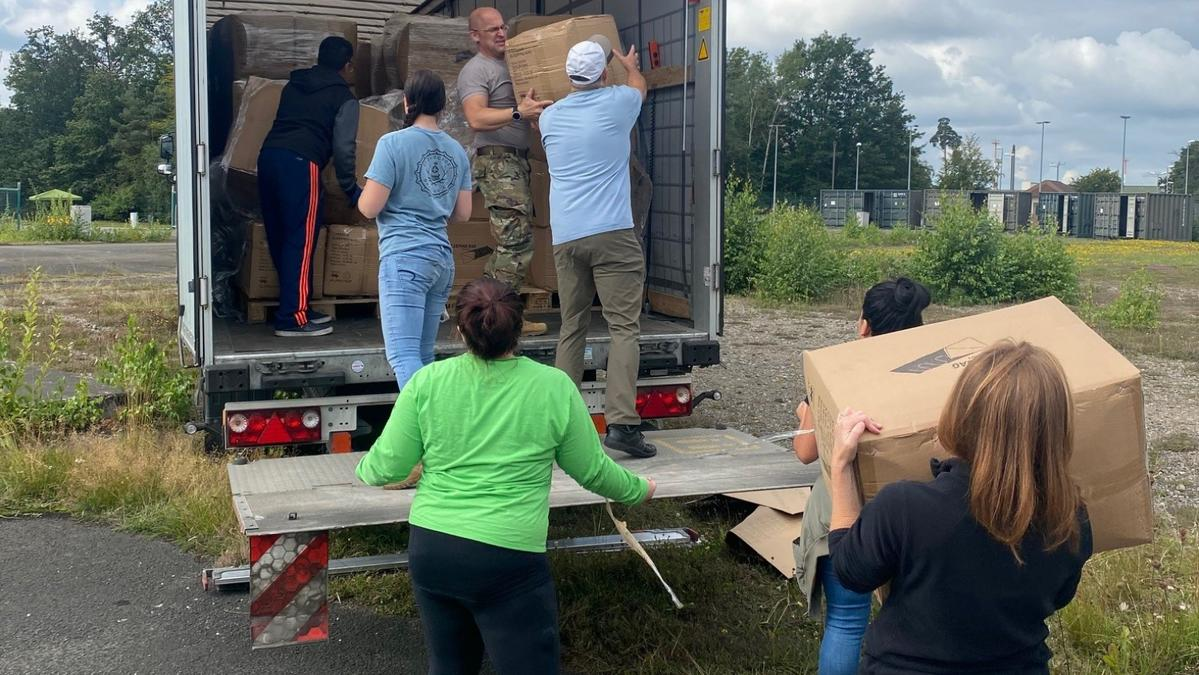 Volunteers organize donations for Afghan refugees at Ramstein Air Base in Germany