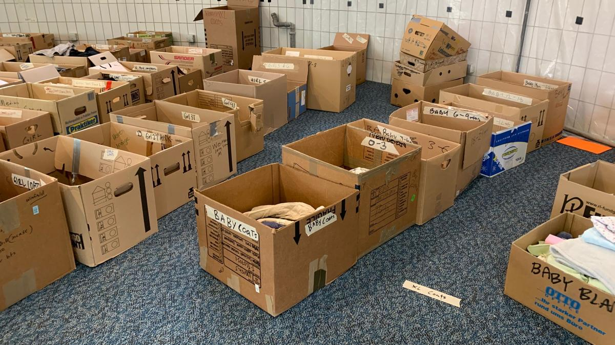 These boxes of sorted donations came into Ramstein Air Base in Germany in August 2021.