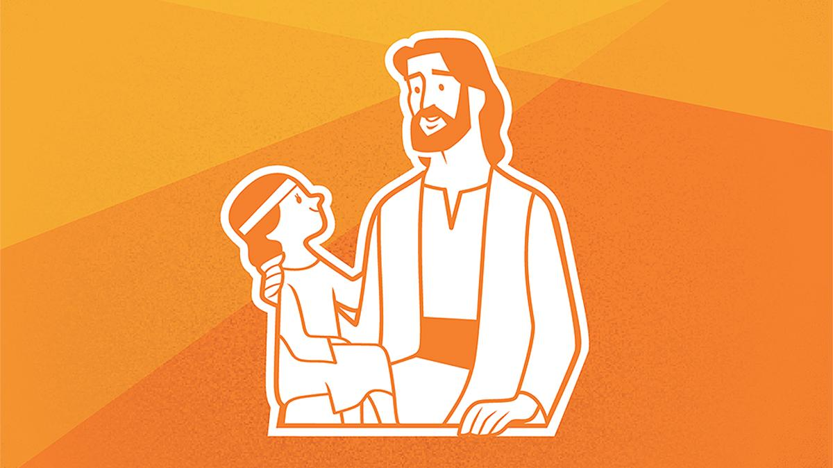 illustration of Jesus with child on an orange background