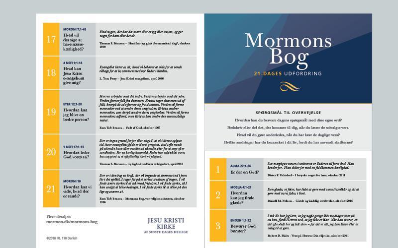 Kalender for Mormons Bogs 21-dages udfordring