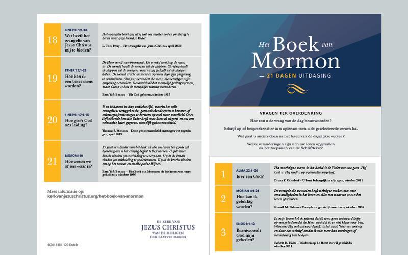 Het Boek van Mormon 21 dagen kalender