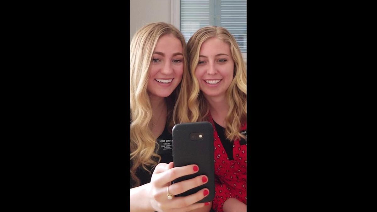 Sister missionaries teaching online