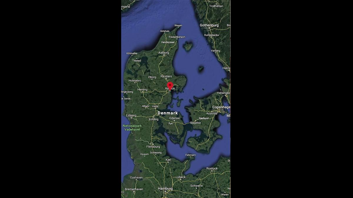 A part of the map of Denmark.