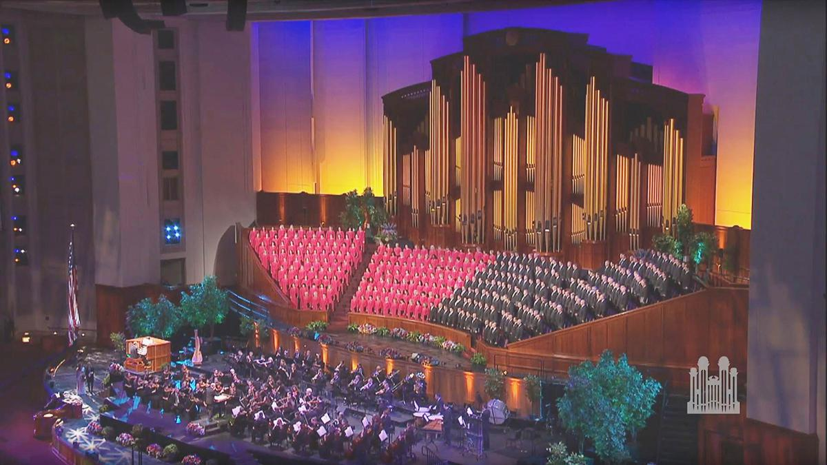 The Tabernacle Choir singing in the Conference Center in Salt Lake City
