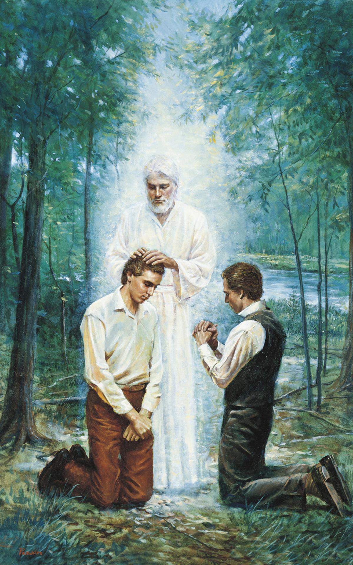 Gemälde von zwei betenden Männern und einem Engel der einem von ihnen die Hände auflegt