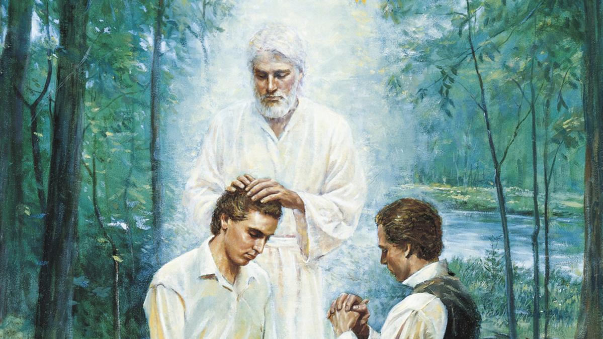 zwei Männer beten, ein Engel legt einem von ihnen die Hände auf
