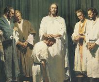 Az utolsó napi szent tan szerint Jézus Krisztus Isten szó szerinti Fiaként jött a földre, és mindenben az Atyja akaratát követte.