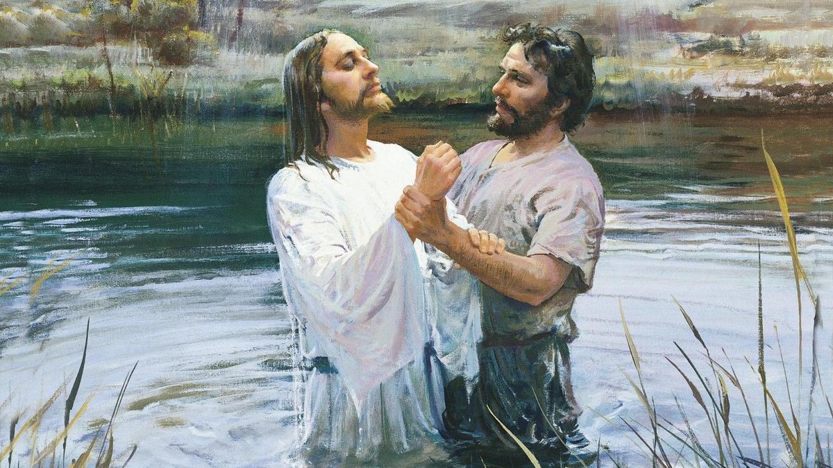 Gemälde das zeigt wie Johannes der Täufer Jesus tauft