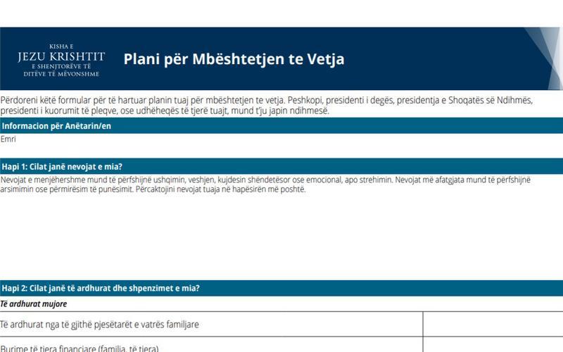 Dokumenti i Planit për Mbështetjen te Vetja