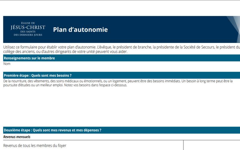 Document du plan d'autonomie