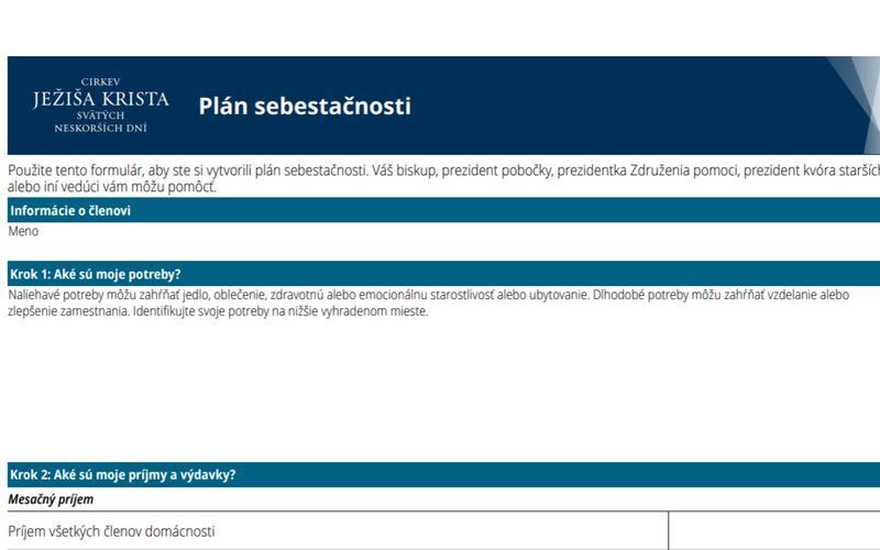 Dokument plánu sebestačnosti
