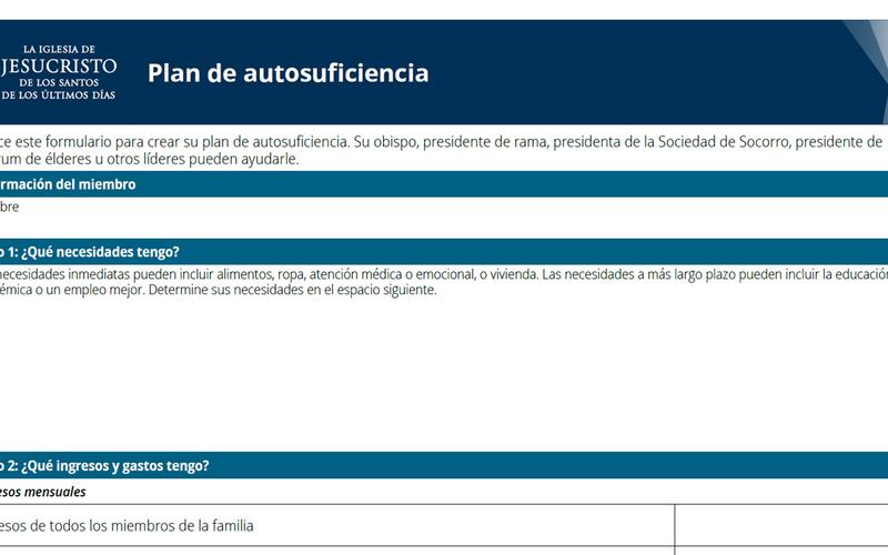 Documento del plan de autosuficiencia