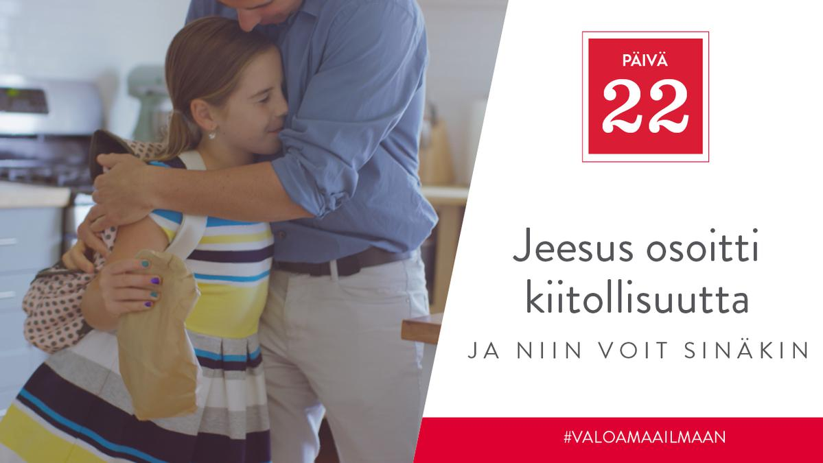PÄIVÄ 22 - Jeesus osoitti kiitollisuutta, ja niin voit sinäkin