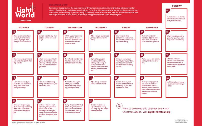 Light the World service calendar