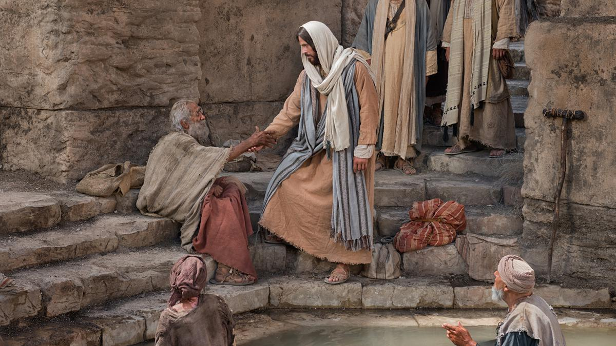 Jesus healing an old man at the pool of Bethesda