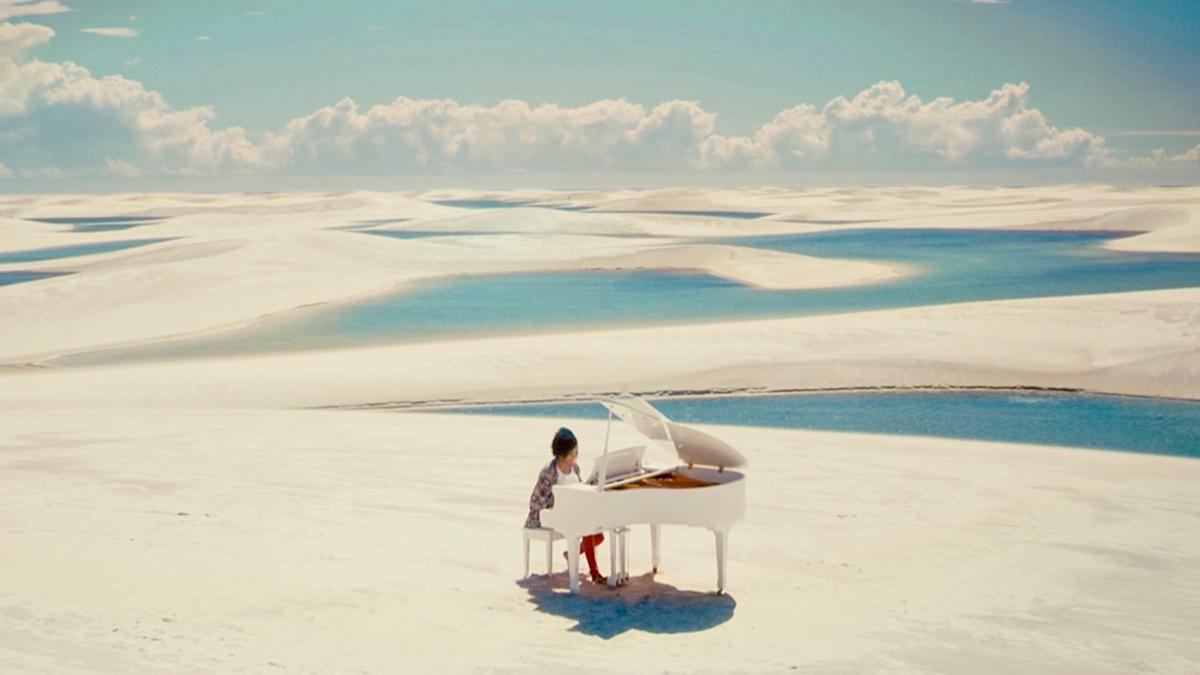 Desert with piano