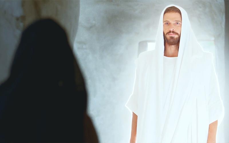 Uskrsli Krist ukazuje se Mariji u grobnici.