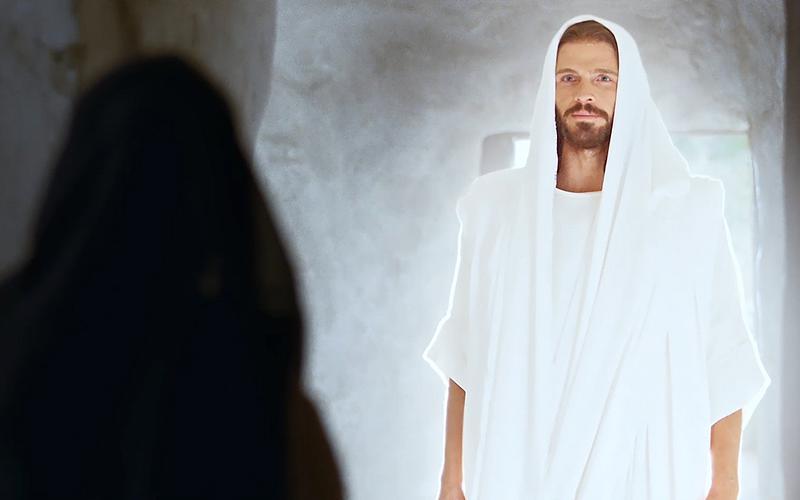 Vstali Jezus Kristus pred Marijo Magdaleno v grobnici.