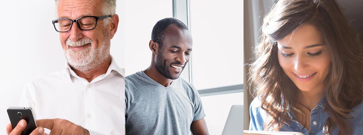 trois images de personnes utilisant des appareils électroniques en souriant