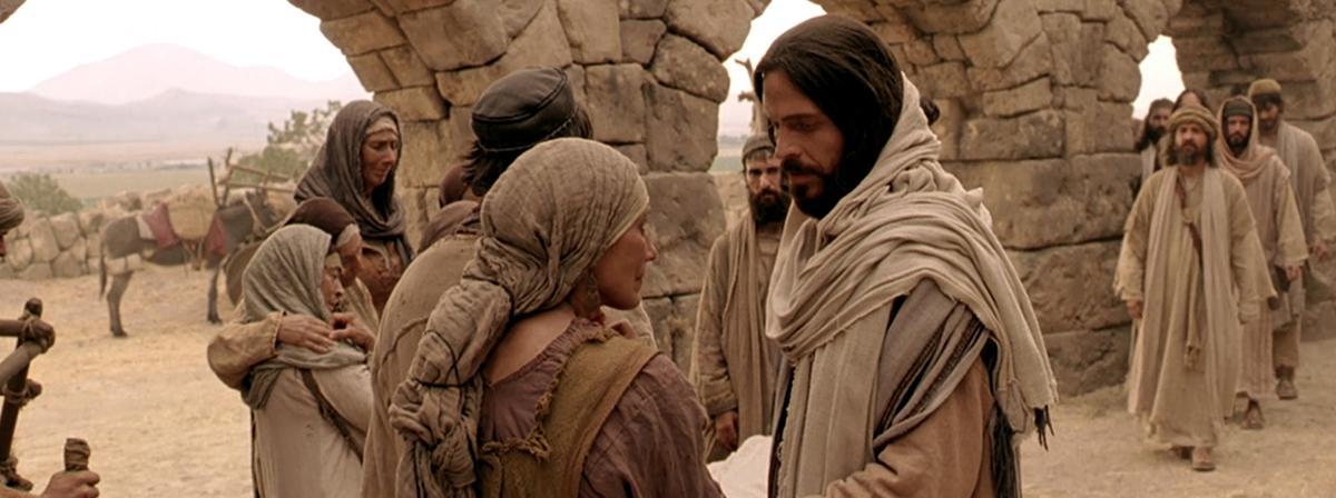 Et billede af Frelseren, der taler til en kvinde