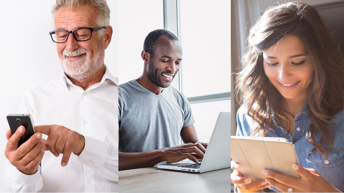 Tre bilder av smilende personer som bruker elektroniske enheter.