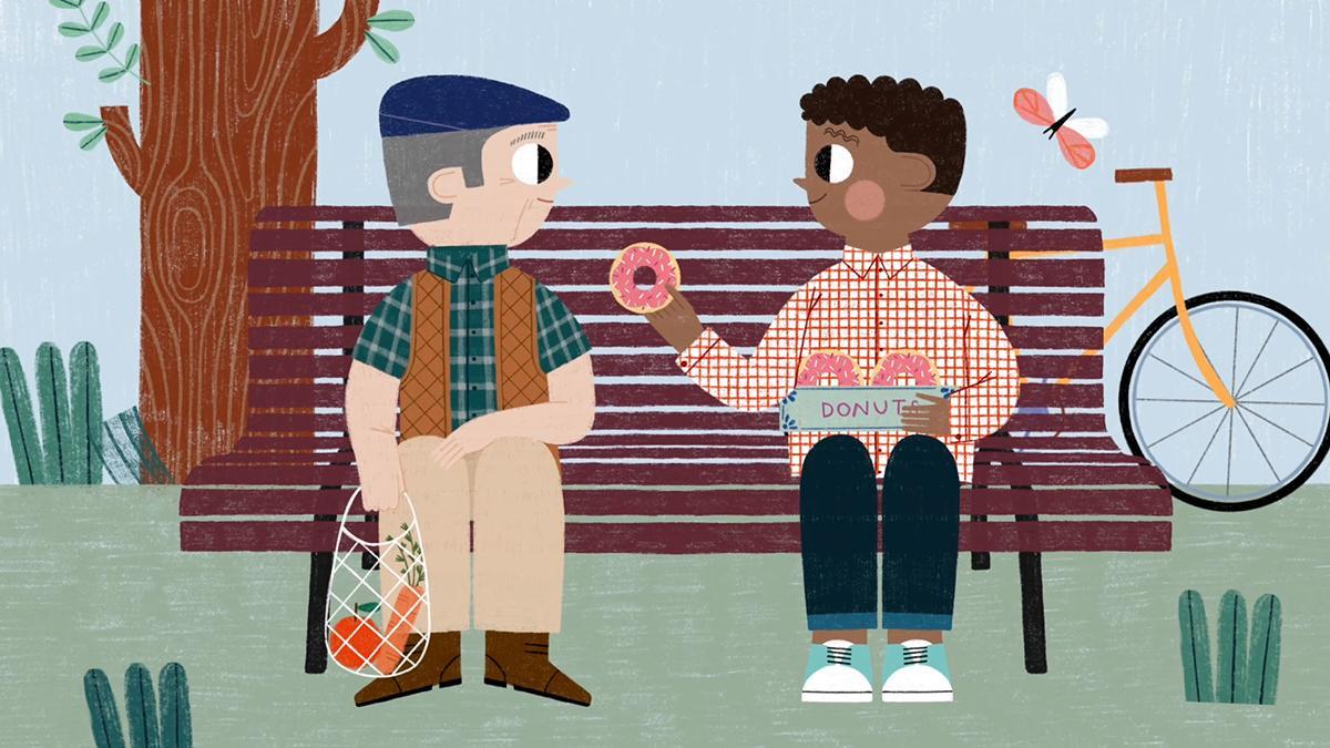Ilustracja przedstawiająca mężczyznę wręczającego innemu człowiekowi pączka.