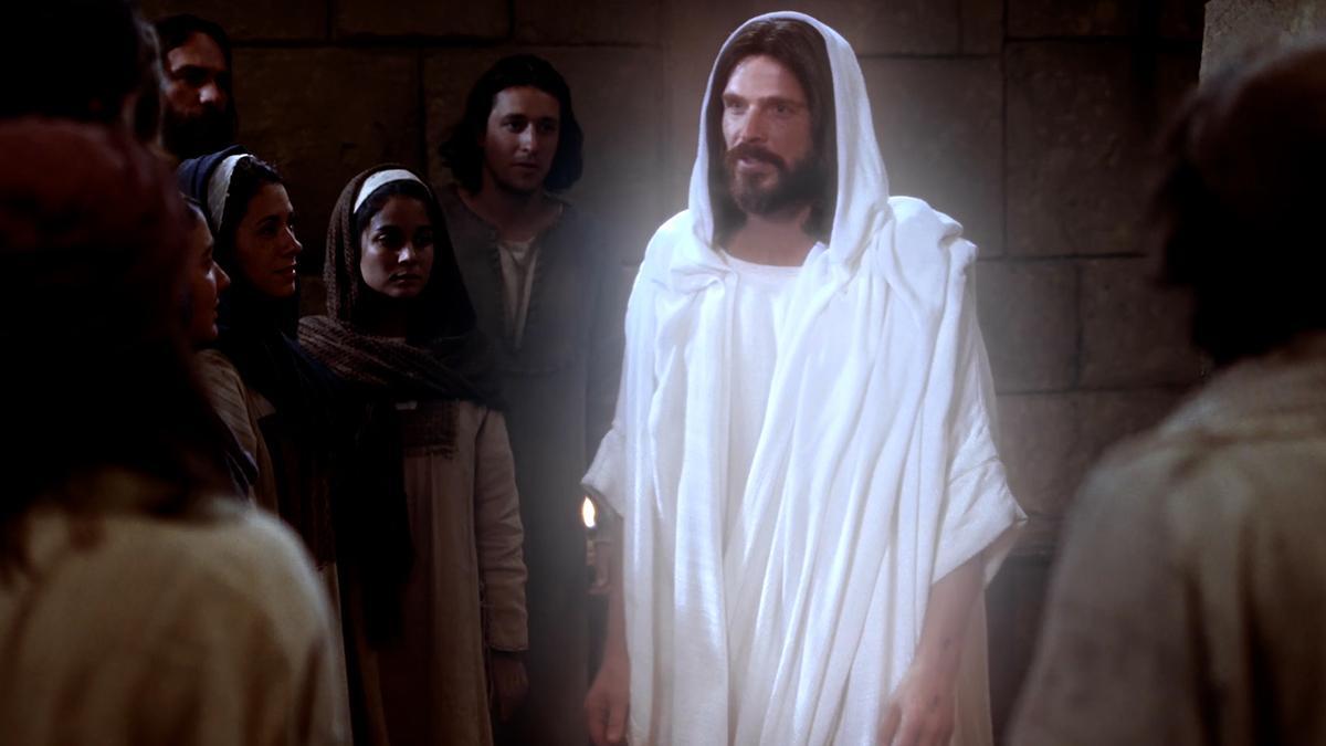 Der auferstandene Christus spricht zu seinen Jüngern