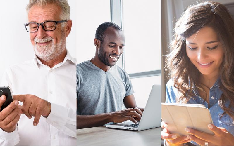 Três imagens de pessoas a usar dispositivos eletrónicos e a sorrir.
