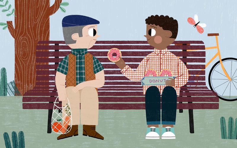 An illustration of man offering a donut to another man.
