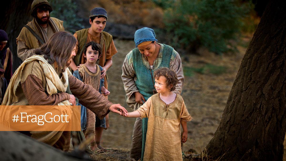 Jesus spricht mit einem Kind