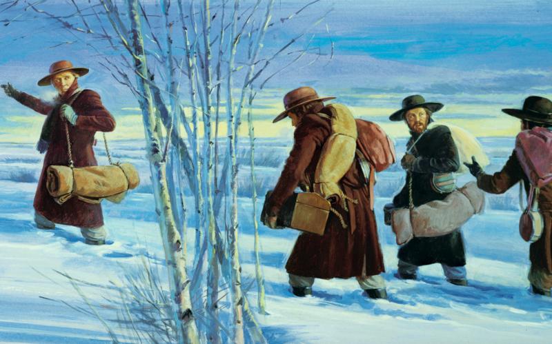 Erste Missionare unterwegs im tiefen Schnee