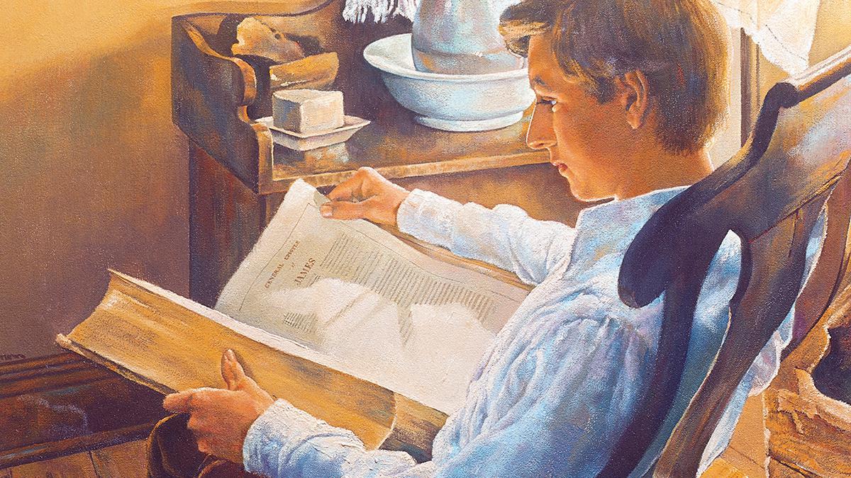 Joseph Smith liest im Neuen Testament