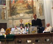 Auf Einladung der Altkatholische Kirchengemeinde richtete Bischof André Merl Gruß- und Segensworte an die versammelten Gläubigen