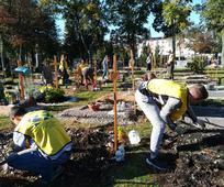 """Der Sozialfriedhof war an diesem herbstlich-sonnigen Samstagvormittag mit fröhlich beschäftigten, großen und kleinen Menschen """"bevölkert""""."""