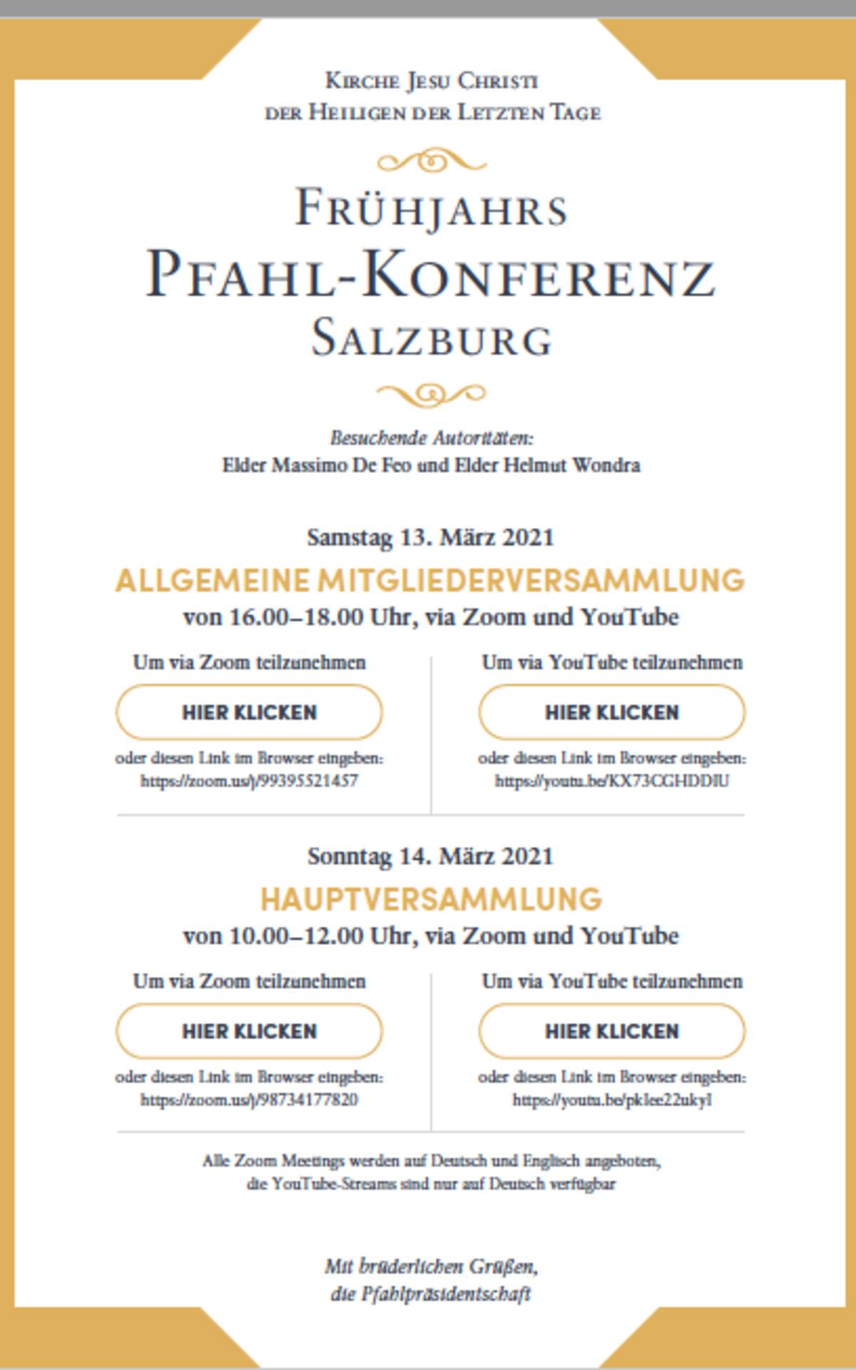 Einladung zur Pfahlkonferenz Frühjahr 2021