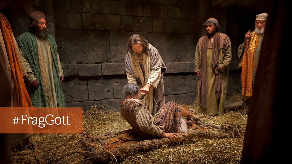 Jesus hebt einen Lahmen vom Boden auf