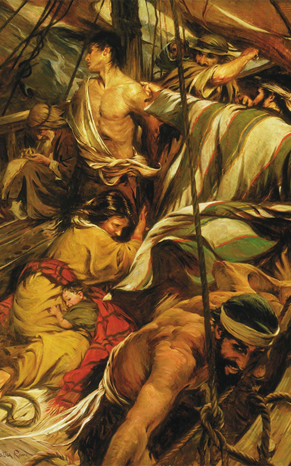 Auf der Überfahrt nach Amerika wird Nephi von seinen Brüdern gefesselt und misshandelt. Dennoch murrte er nicht, sondern lobte Gott.