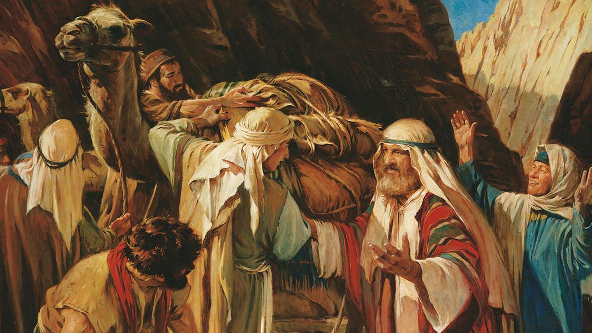 Der Prophet Lehi freut sich über die Rückkehr seiner Söhne aus Jerusalem.