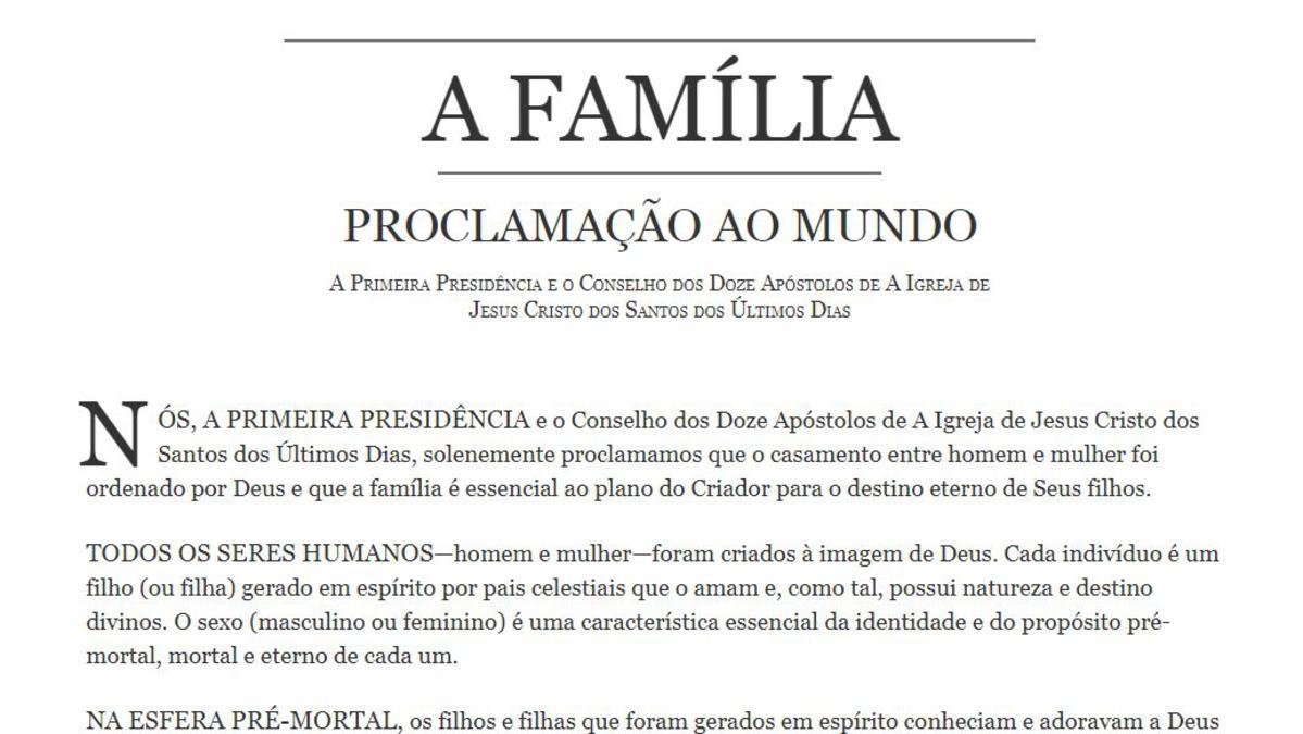 A Família - Proclamação Ao Mundo