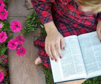 Mädchen liest in den Schriften
