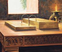 ein Gemälde auf dem die goldenen Platten abgebildet sind