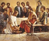 Jézus Krisztus megmossa a tanítványai lábát