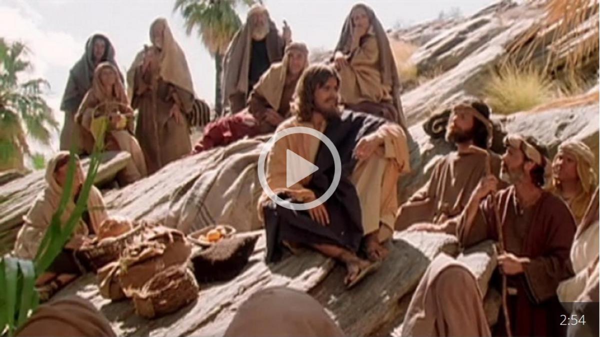 Jesús enseña en el monte