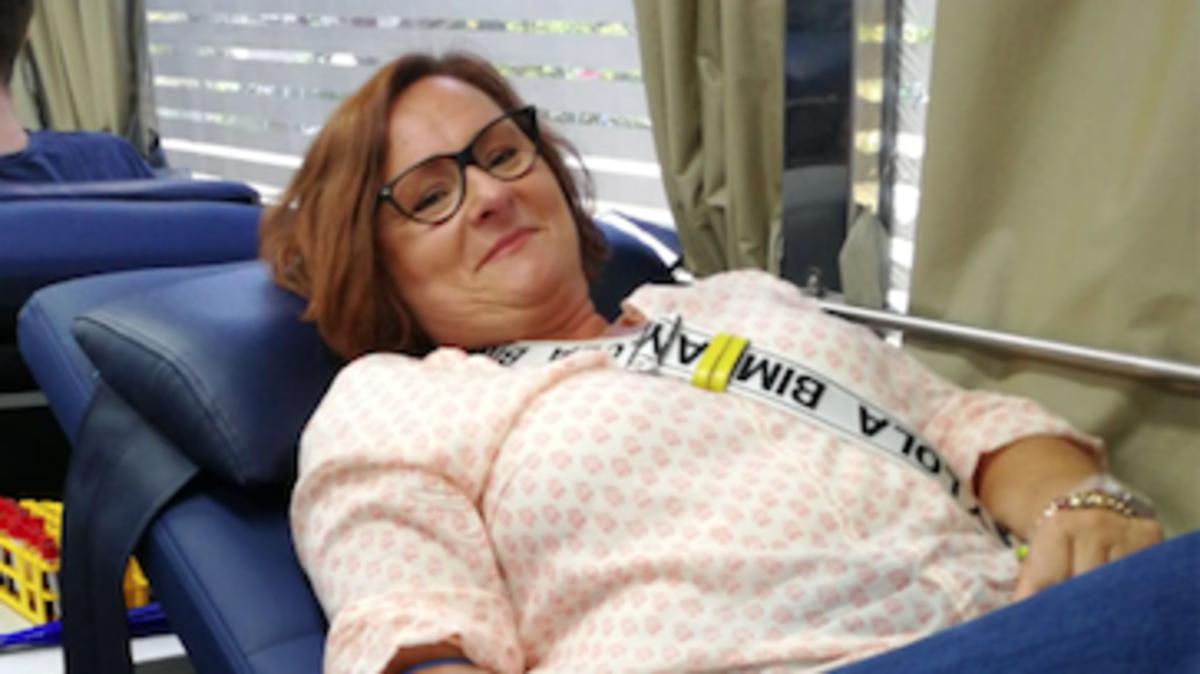 Una donante de sangre