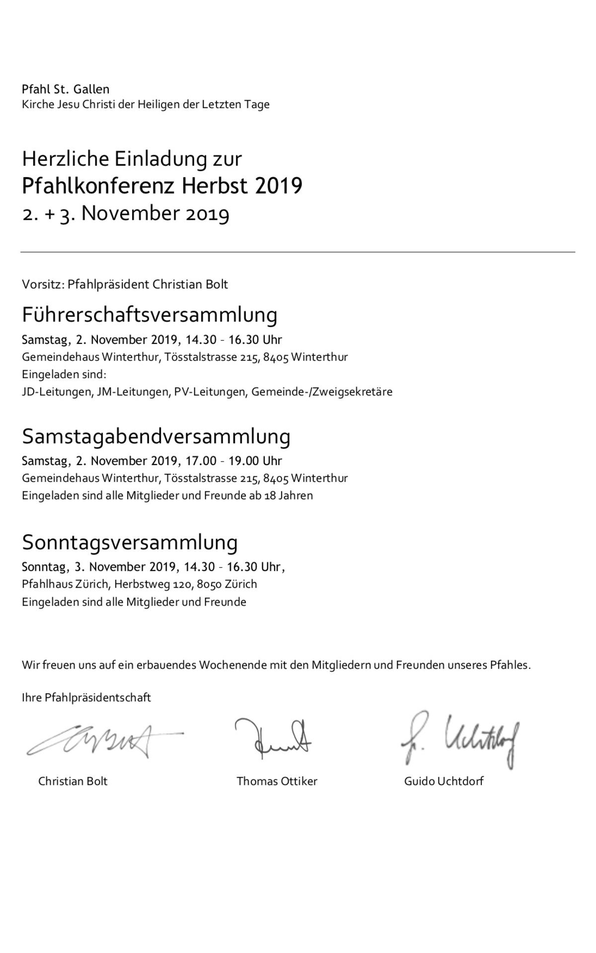 Pfahlkonferenz Herbst 2019 Pfahl St. Gallen