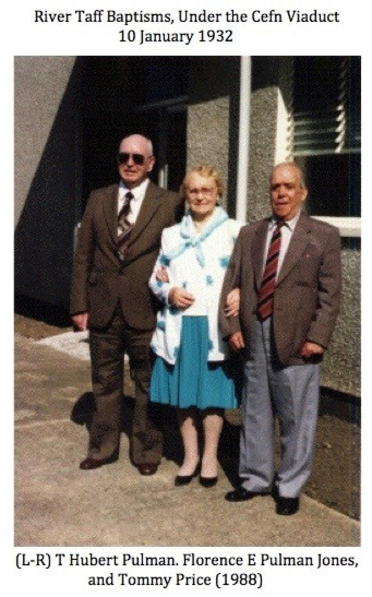 [L-R] Hubert Pulman, Florence E. Pulman Jones and Tommy Price, who were all baptised in the Taff 10th January 1932, pictured here in 1988